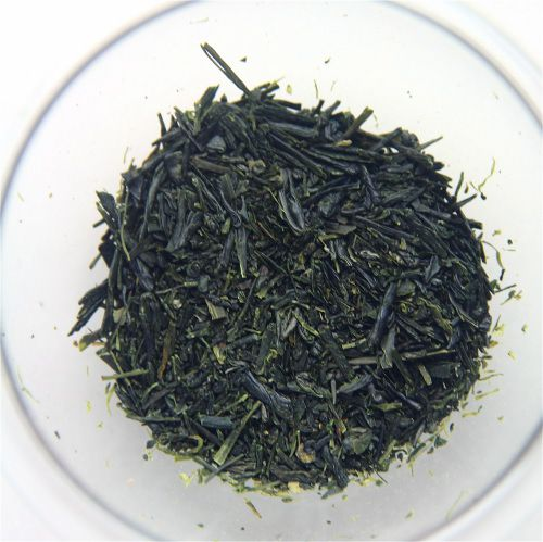 Asamushi Sencha, Japanese green tea, on a white background.