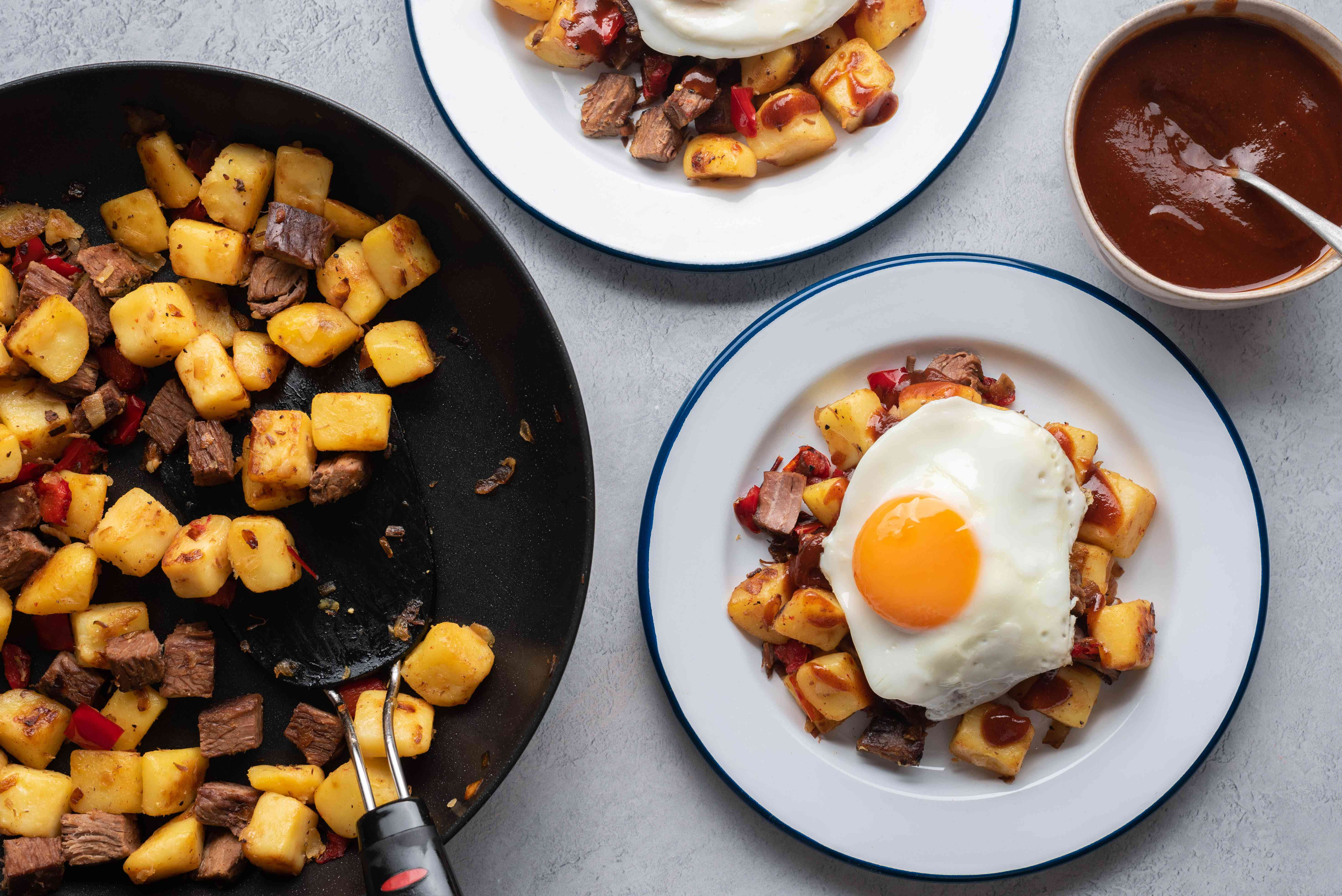 Brisket Hash and Eggs on a plate
