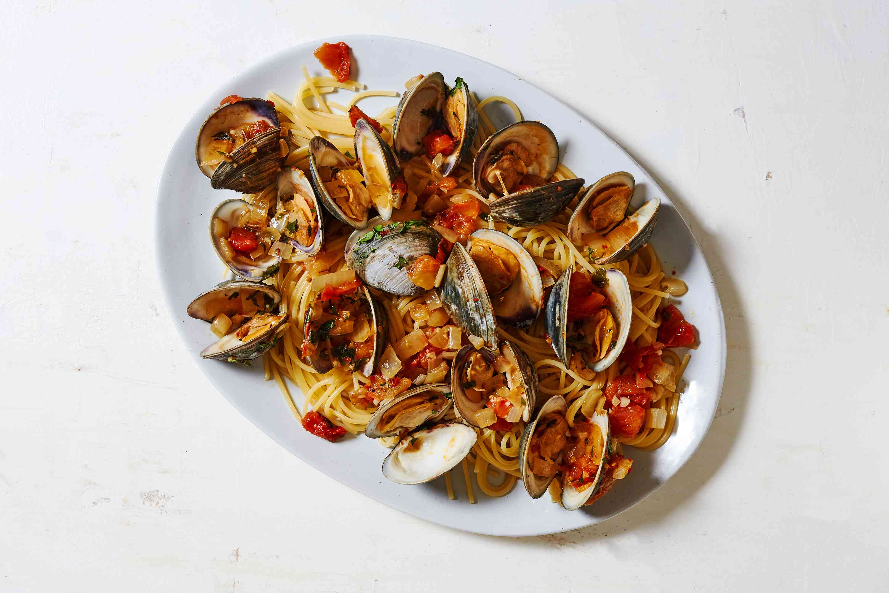 White Wine and Garlic Clam Pasta on a platter