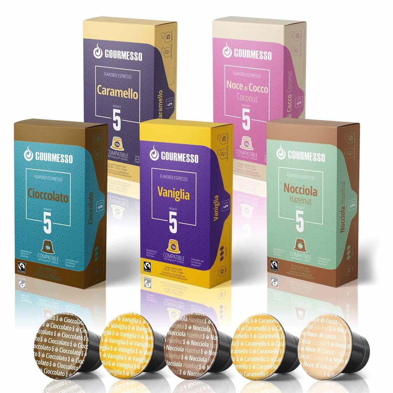 Gourmesso 50 Fairtrade Flavored Espresso Capsules