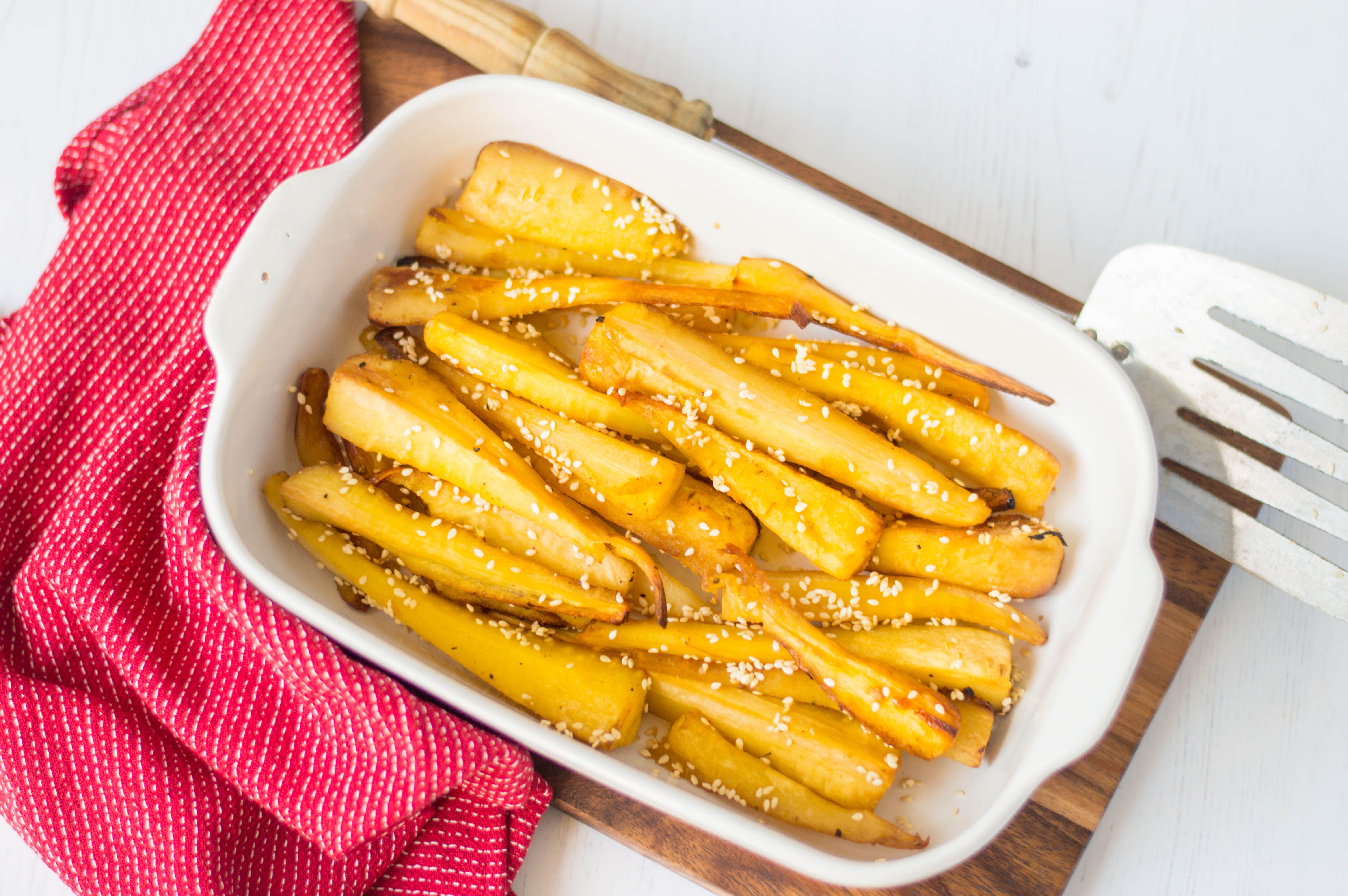 Maple-glazed roast parsnips
