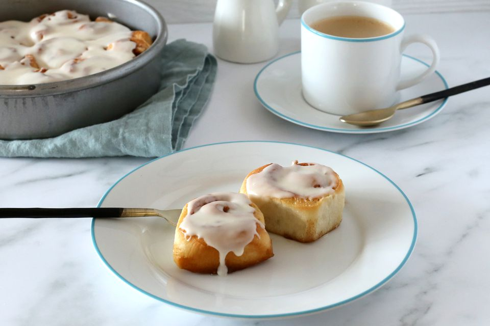 Homemade cinnamon rolls made with frozen bread dough.