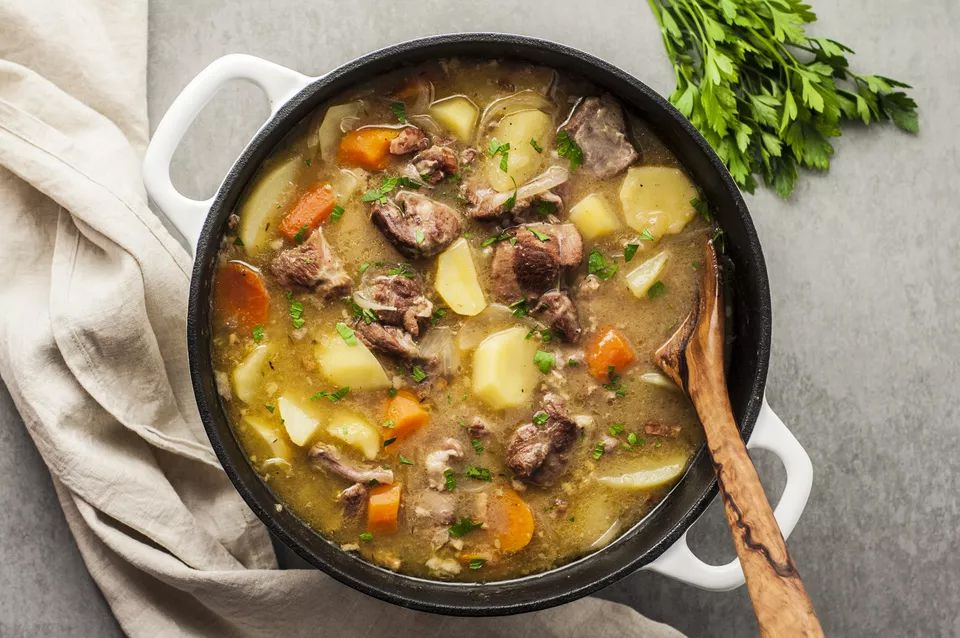 Irish-style lamb stew with vegetables.
