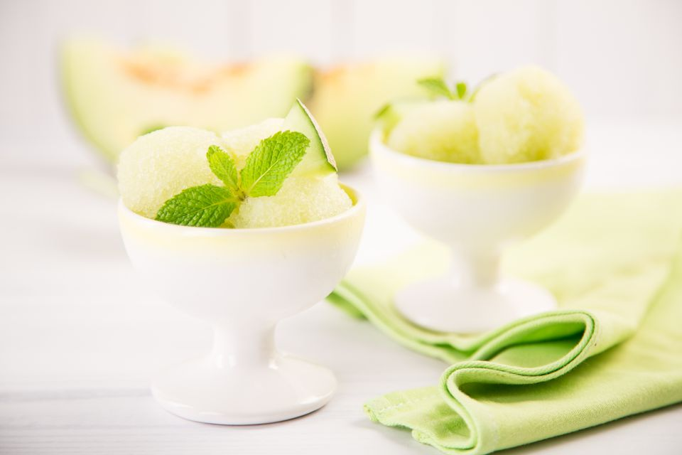 Sorbet in bowl with mint leaves