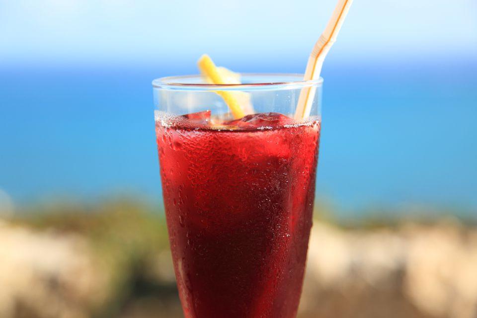 Glass of iced hibiscus tea