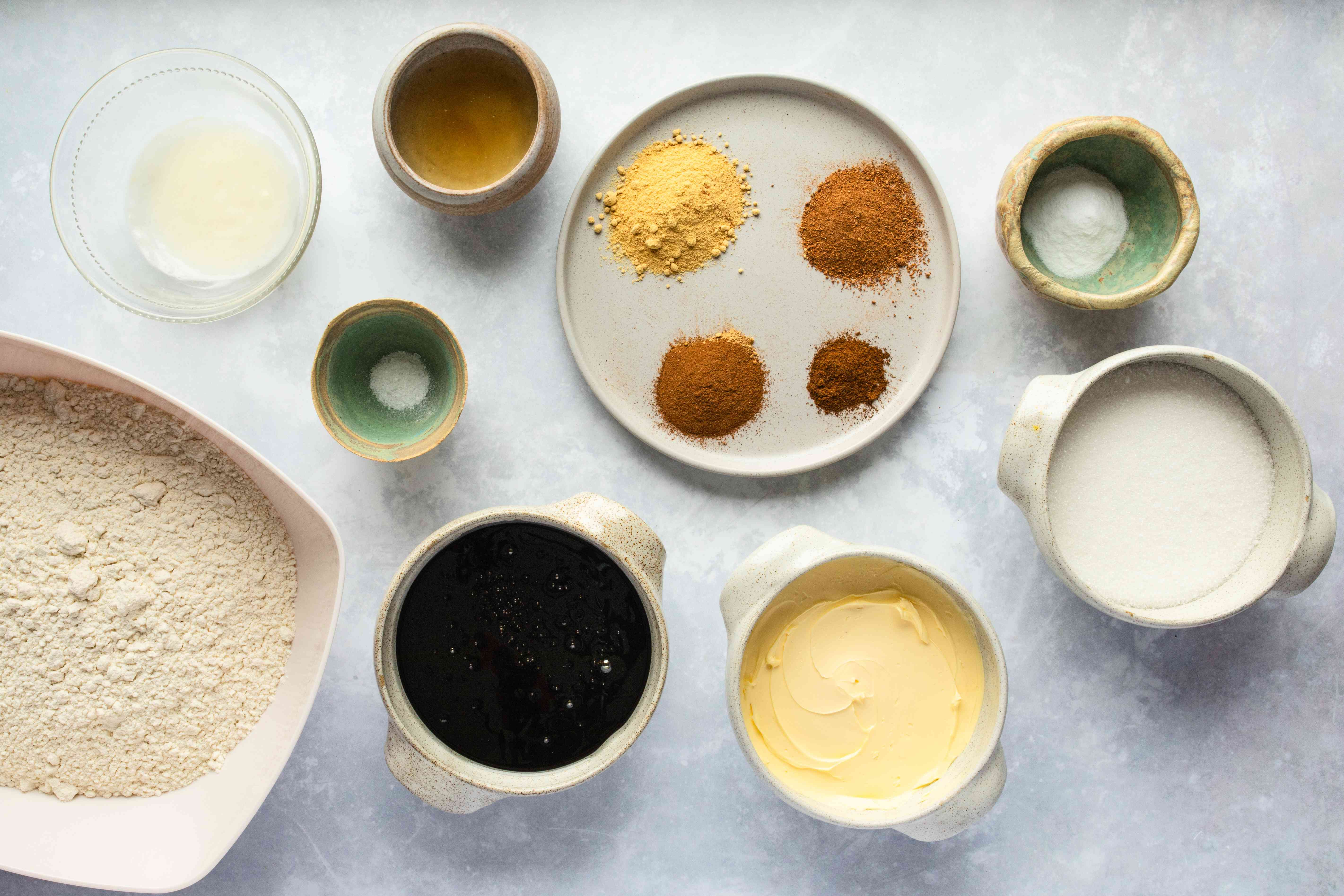 Ingredients for vegan gingerbread cookies