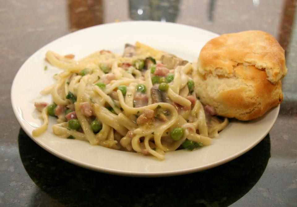 Ham and Spaghetti Casserole With Peas