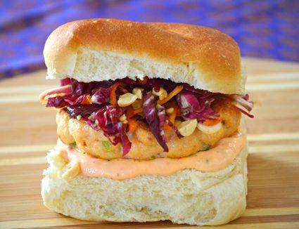 Grilled Salmon Burger with Radicchio Slaw and Sambal Mayonnaise