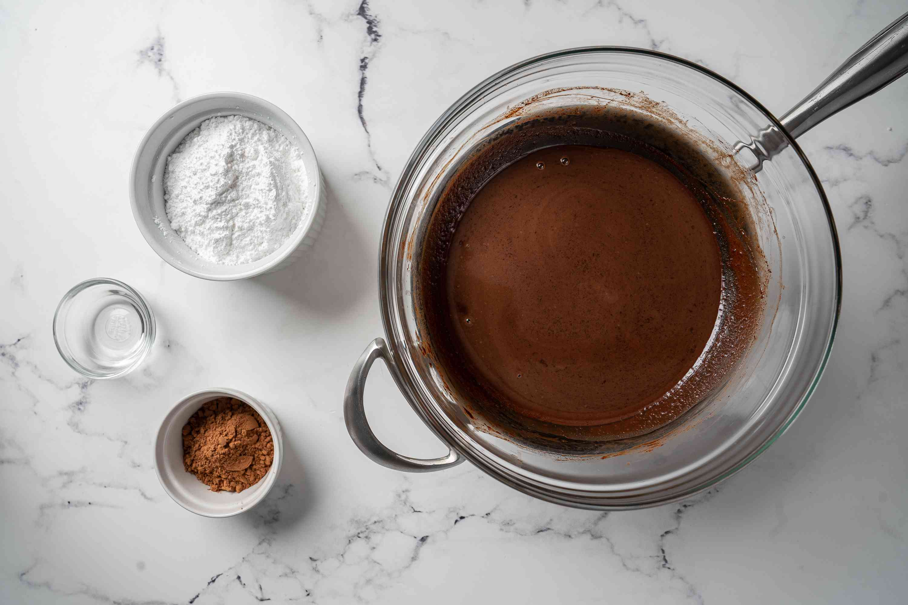 Add powdered sugar and cocoa to melted chocolate mixture