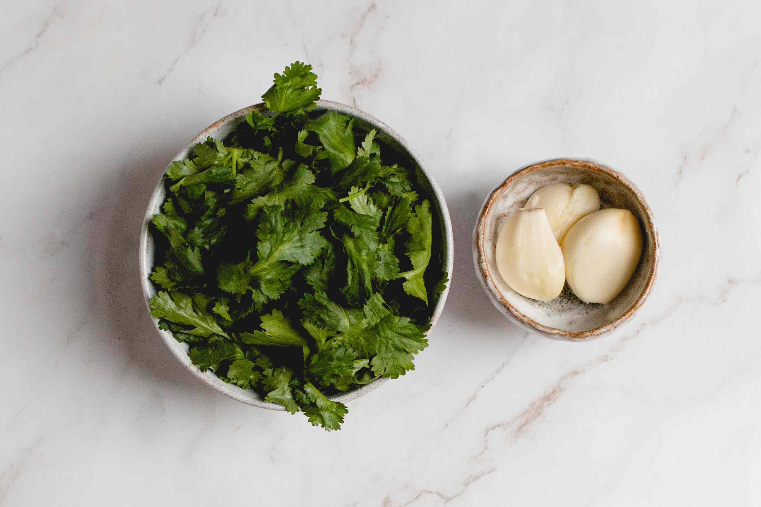 peel garlic cloves and remove cilantro stems