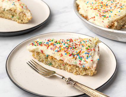 Vanilla Wacky Cake With Rainbow Sprinkles
