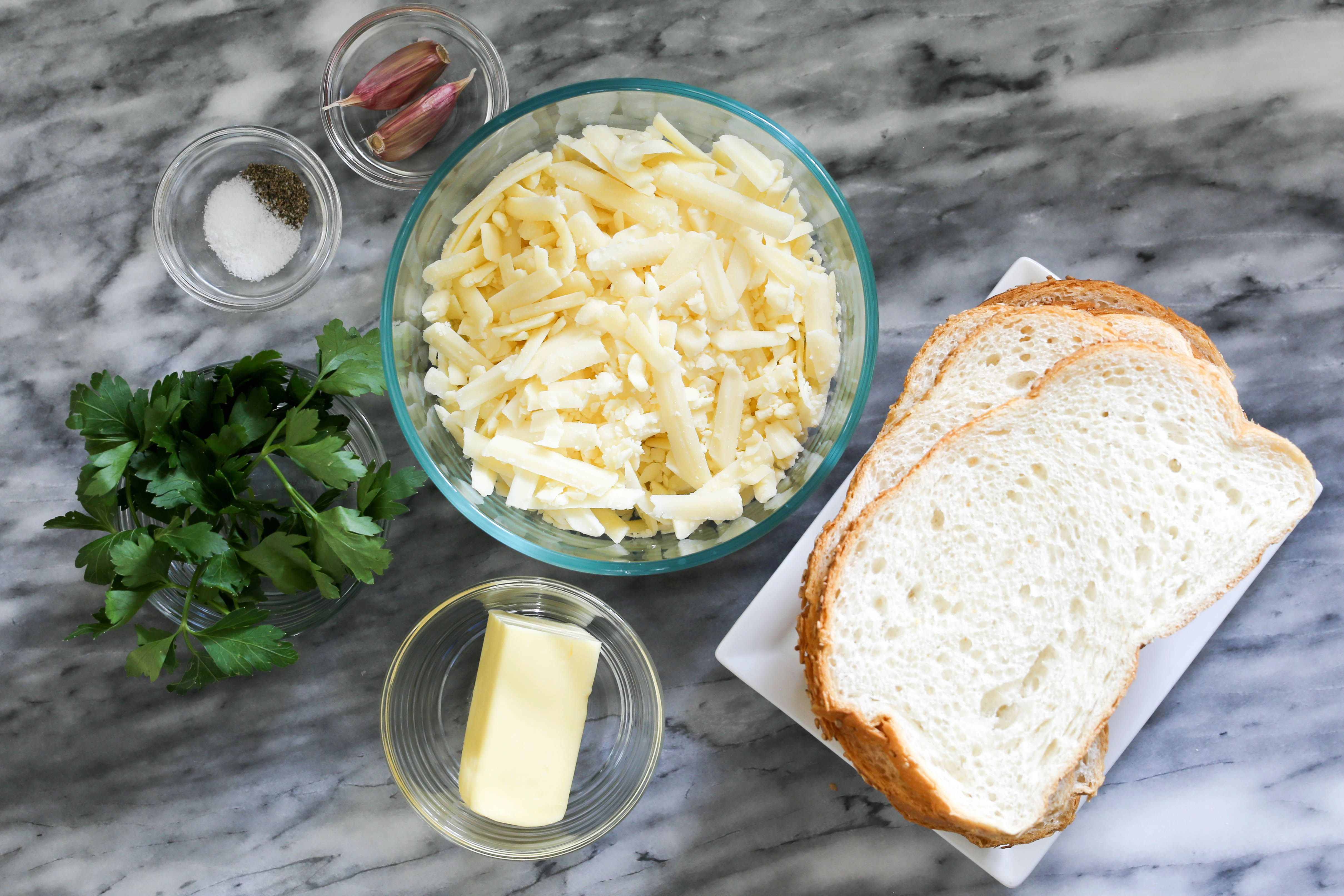 Ingredients for garlic bread grilled cheese sandwiches