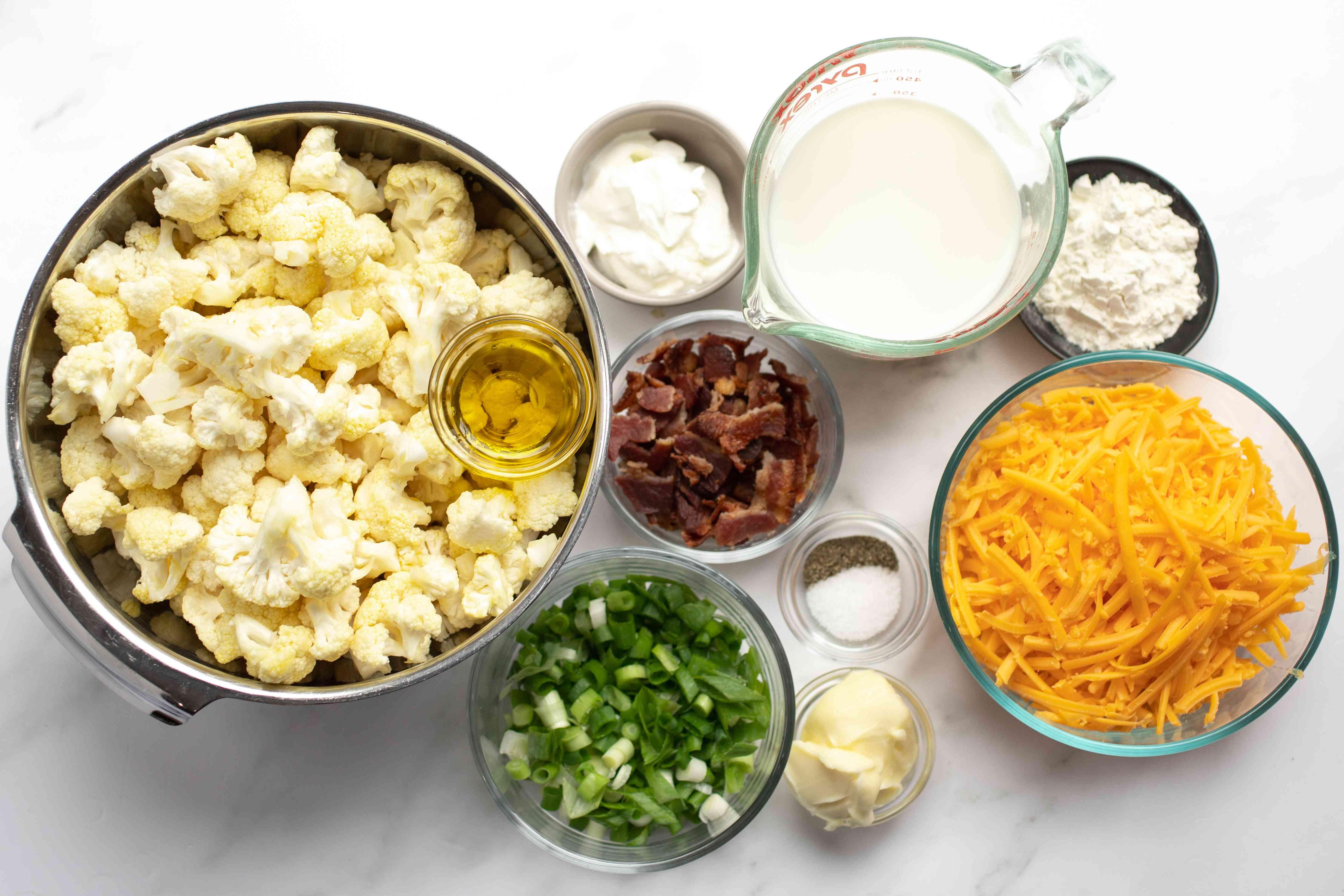 ingredients for loaded cauliflower bake