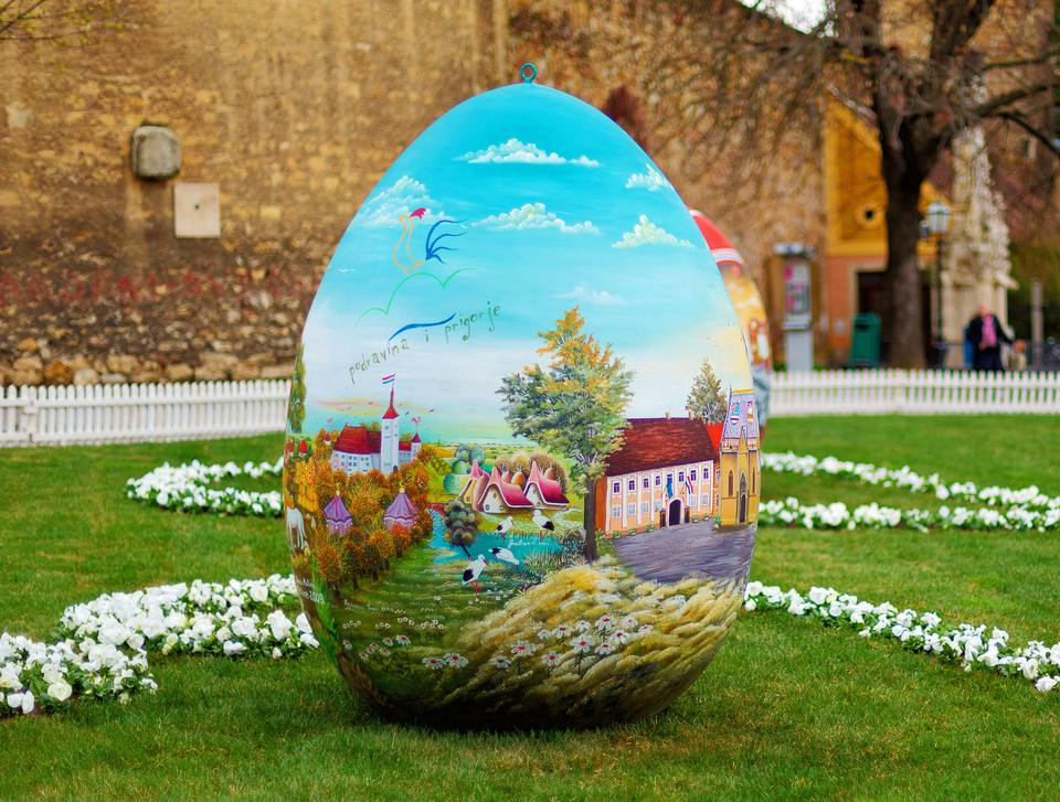 Giant Croatian Easter Egg Outside Zagreb Cathedral
