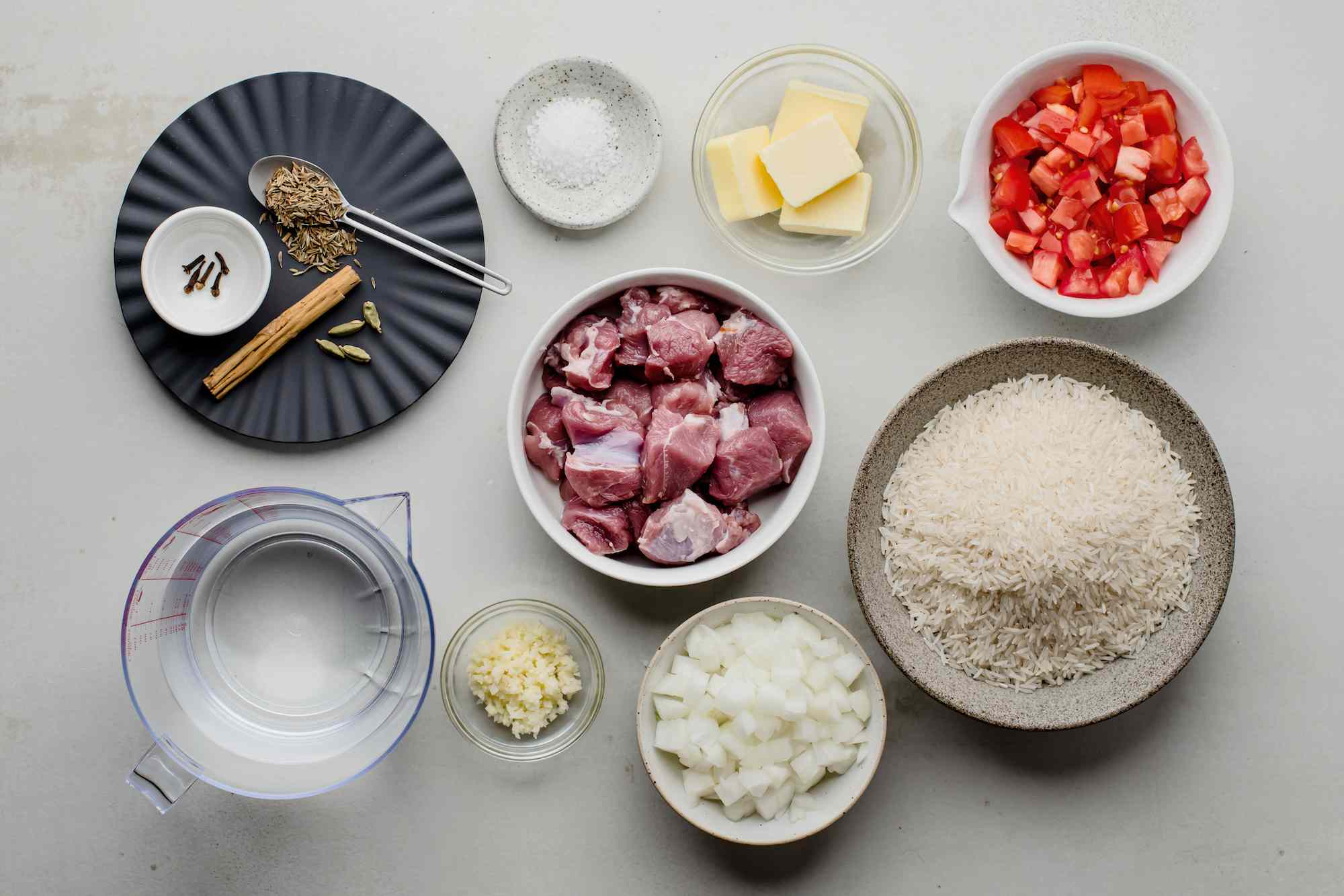 Ingredients for spiced Somali rice