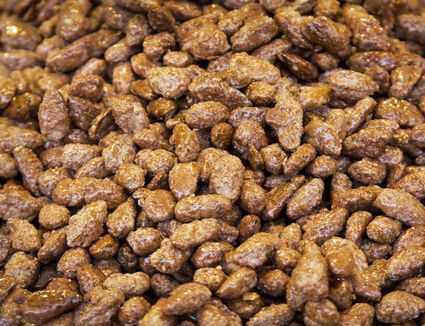 Close up of caramelized almonds