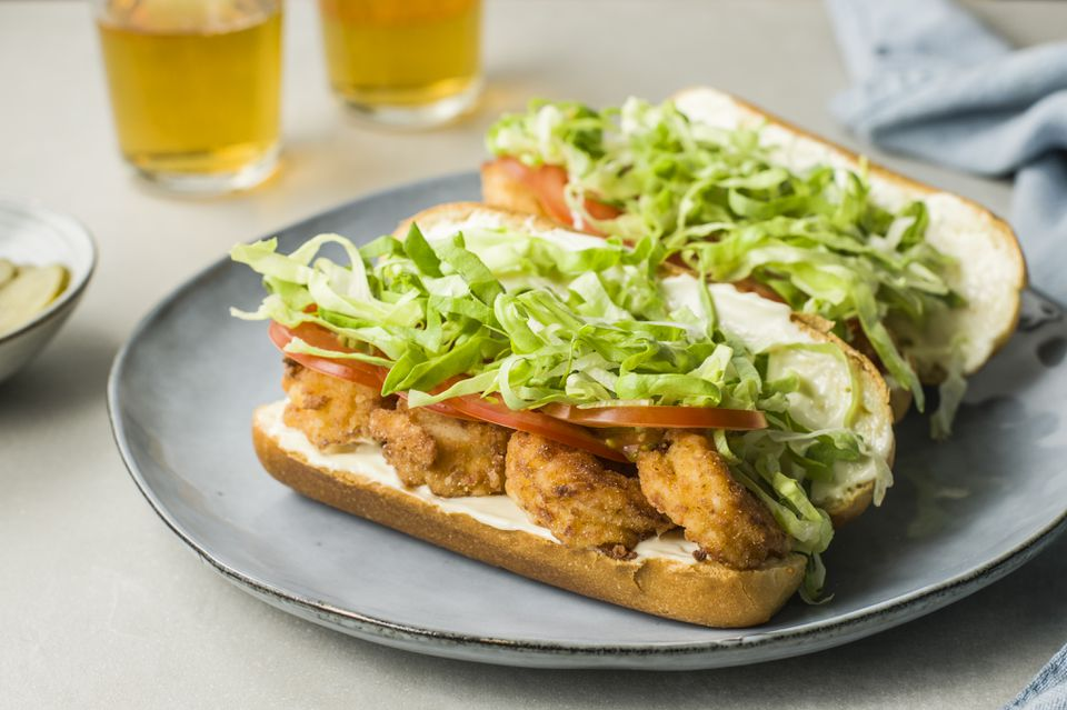 Fried shrimp po boy sandwiches