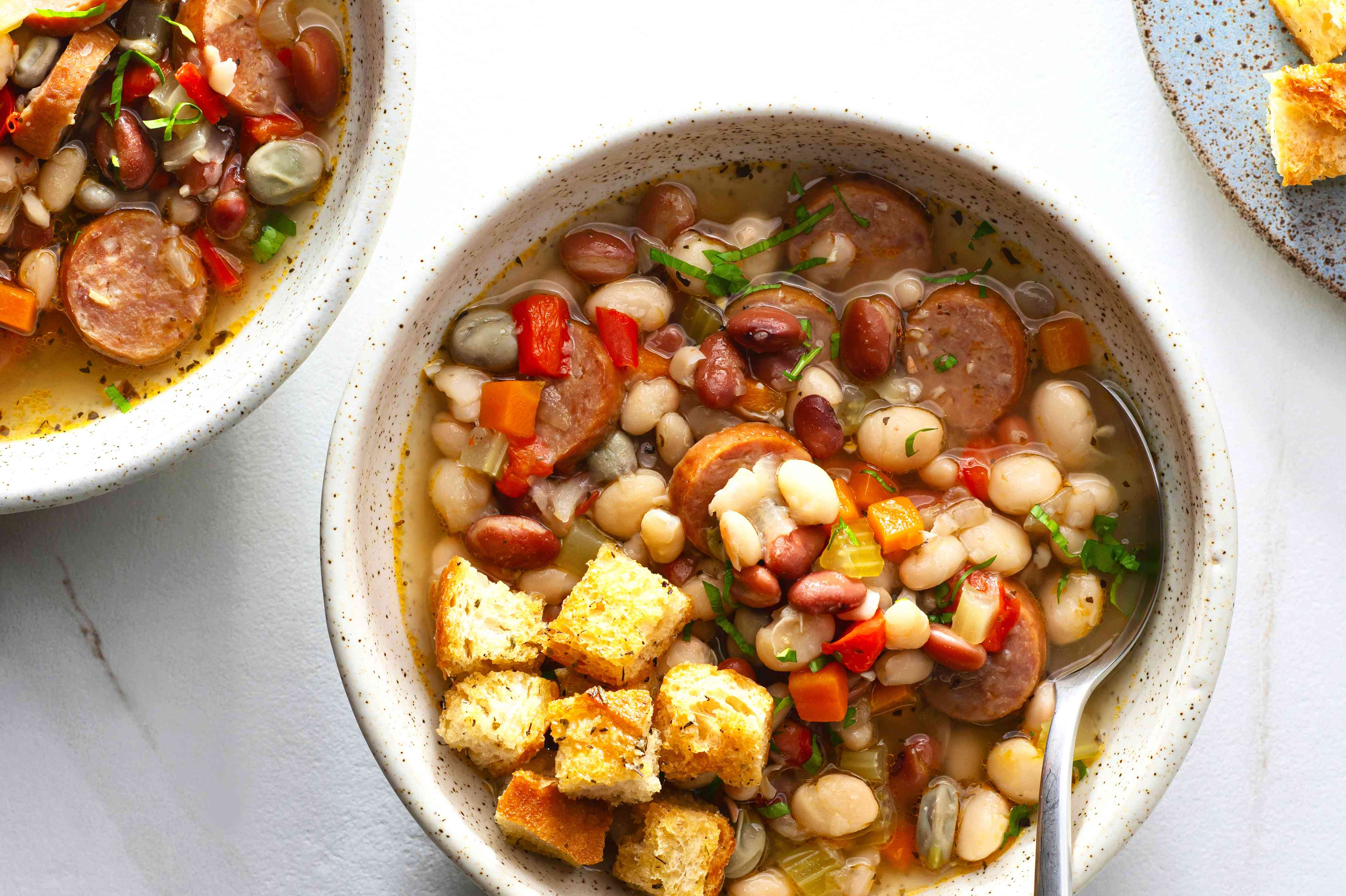 Quick and Easy Bean Soup With Sausage with croutons and parsley