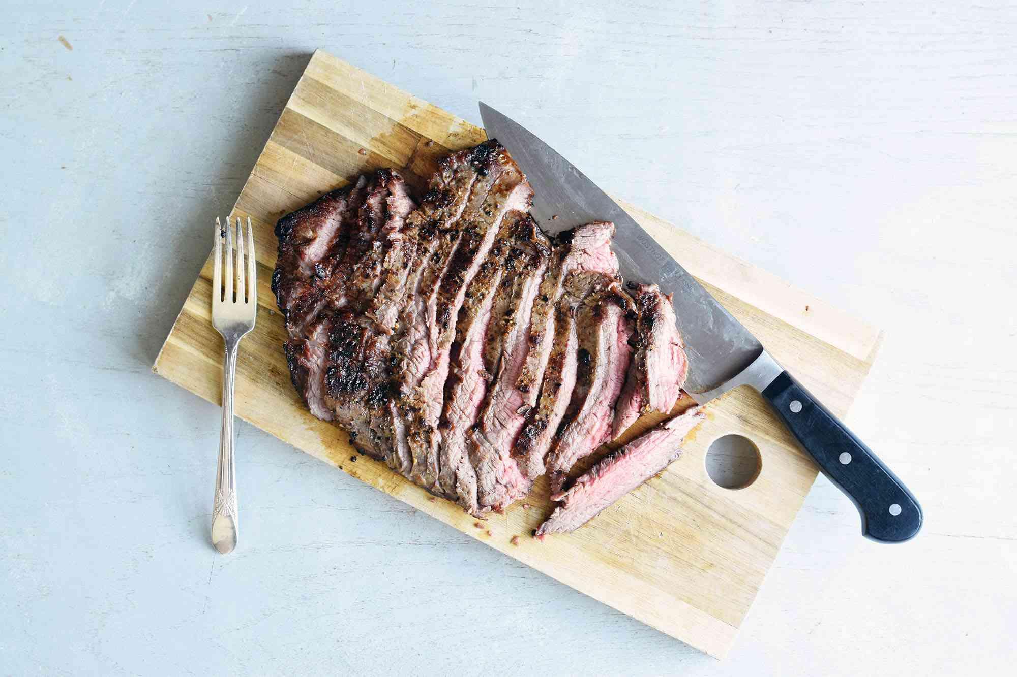 flank steak sliced against the grain