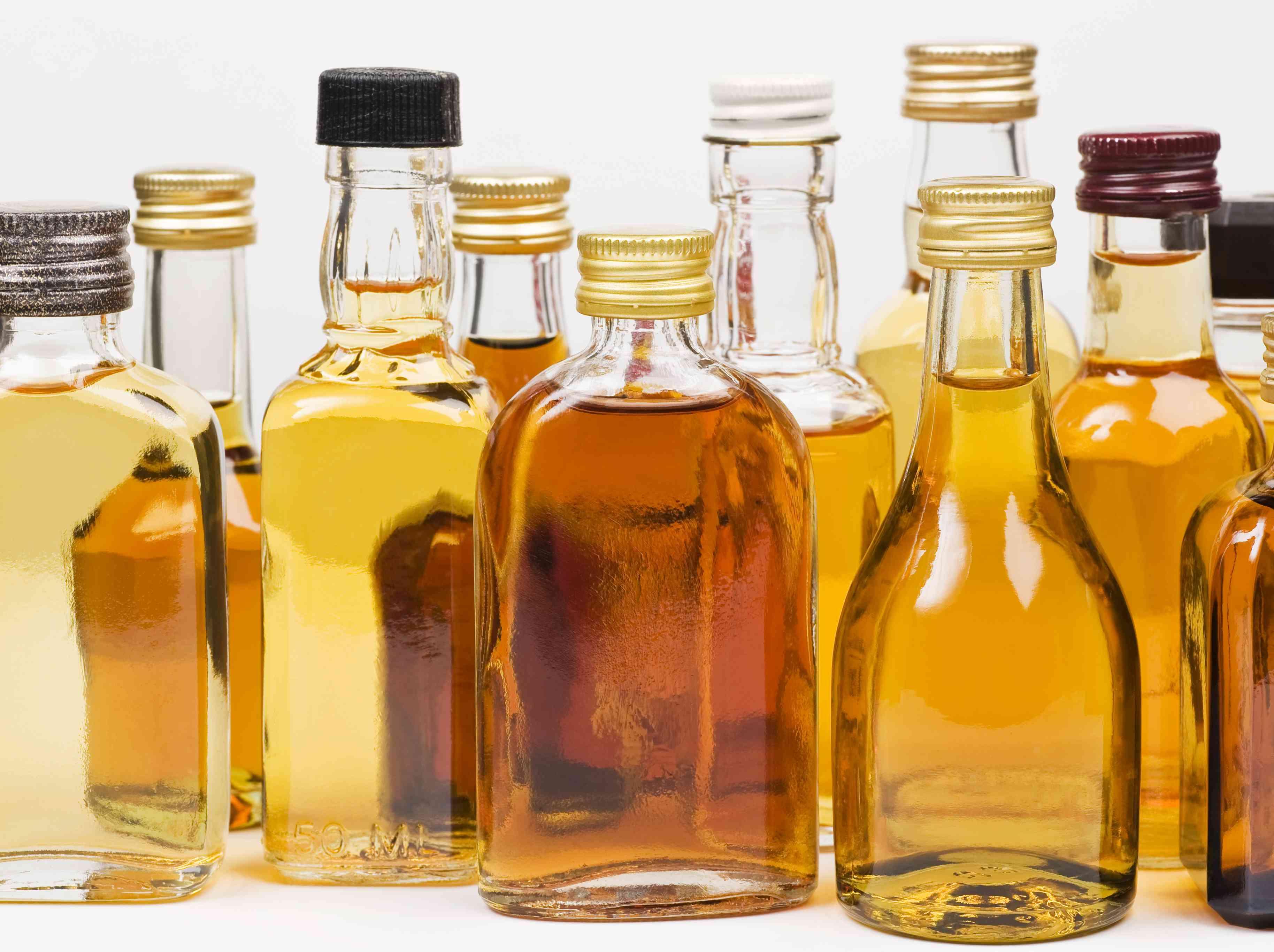 Various bottles of liqueurs