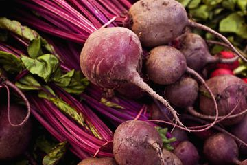 A bunch of freshly picked beets
