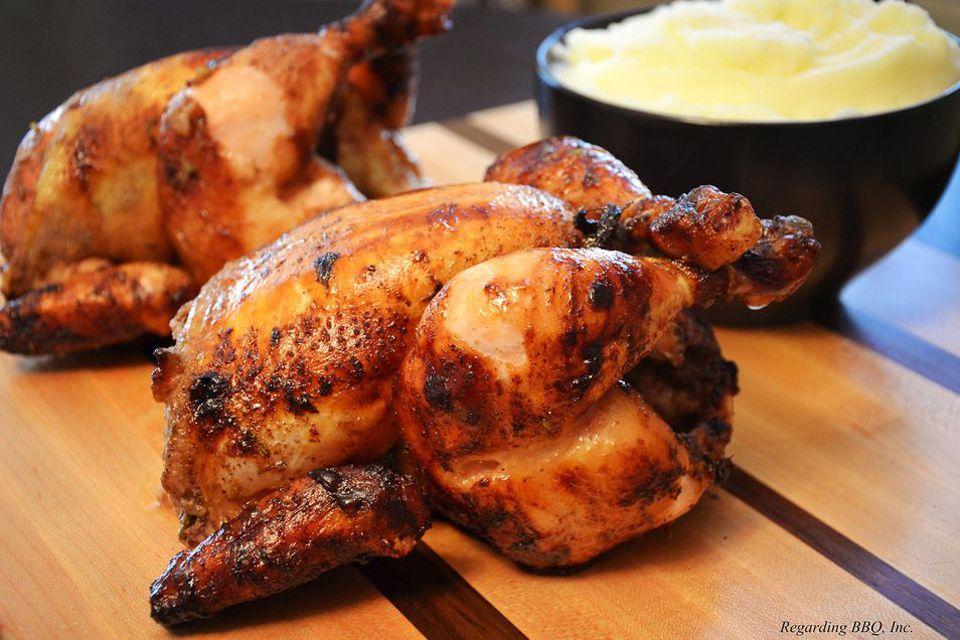 Rotisserie chickens.
