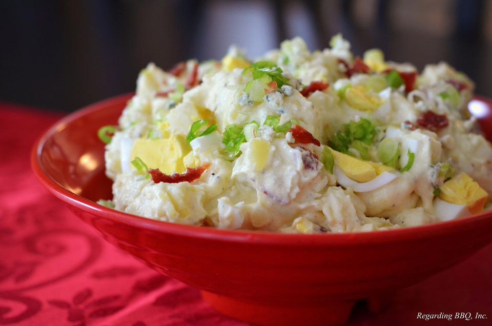A bowl of bacon and blue cheese potato salad