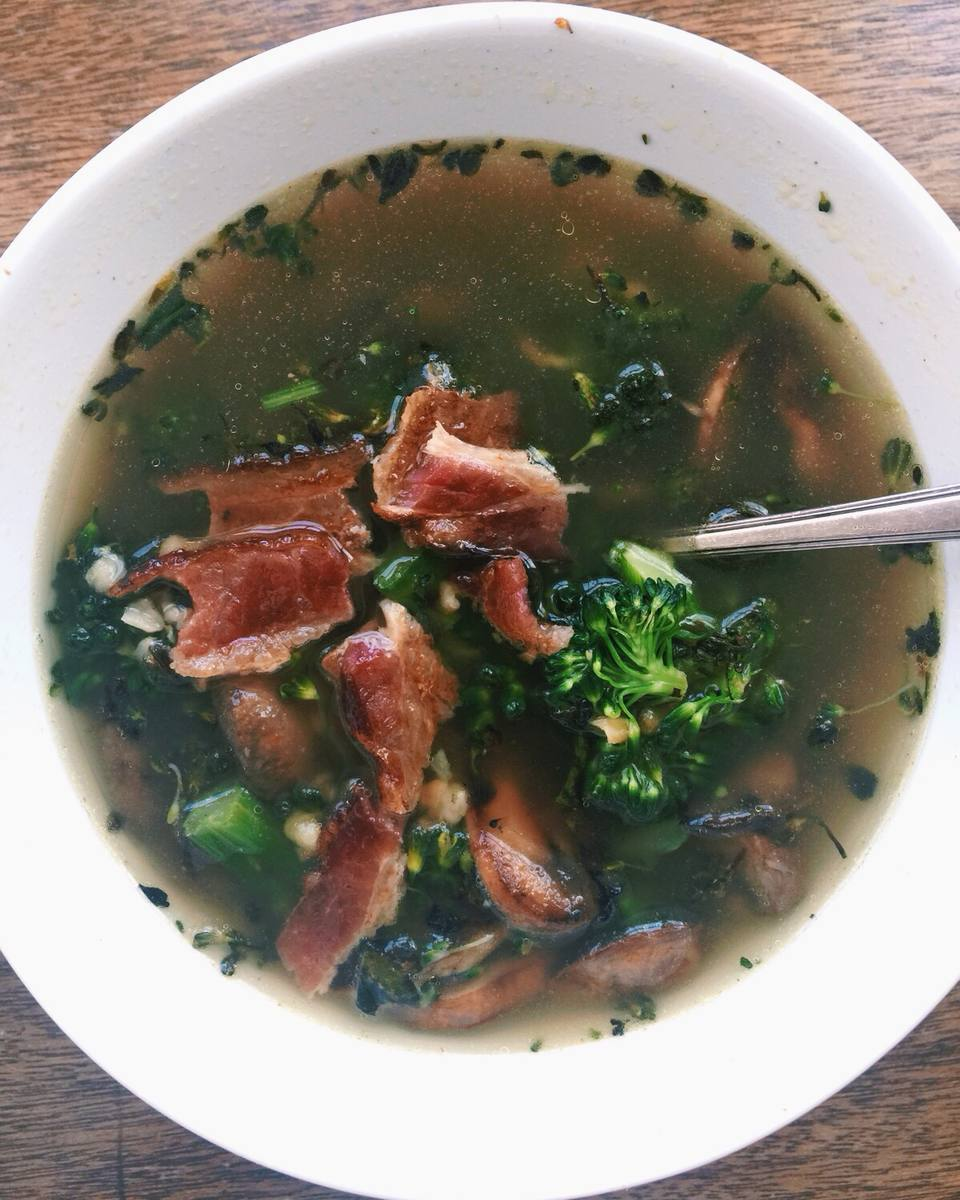 Mushroom, Broccoli Rabe and Barley Soup