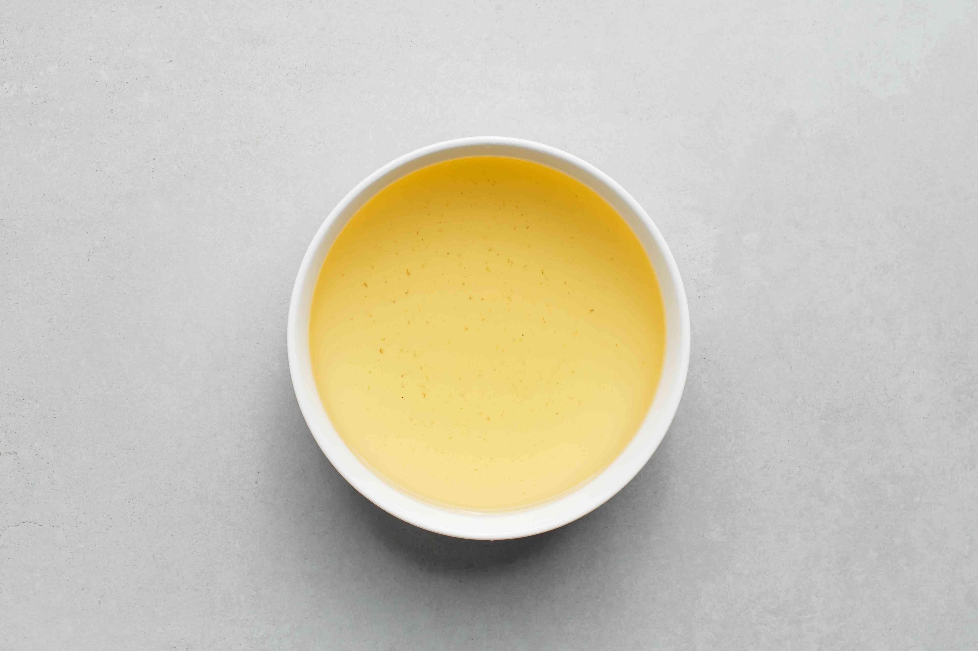 Dashi broth in a bowl