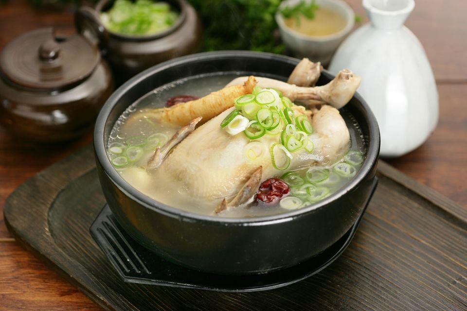 A bowl of Samgyetang, Korean chicken soup