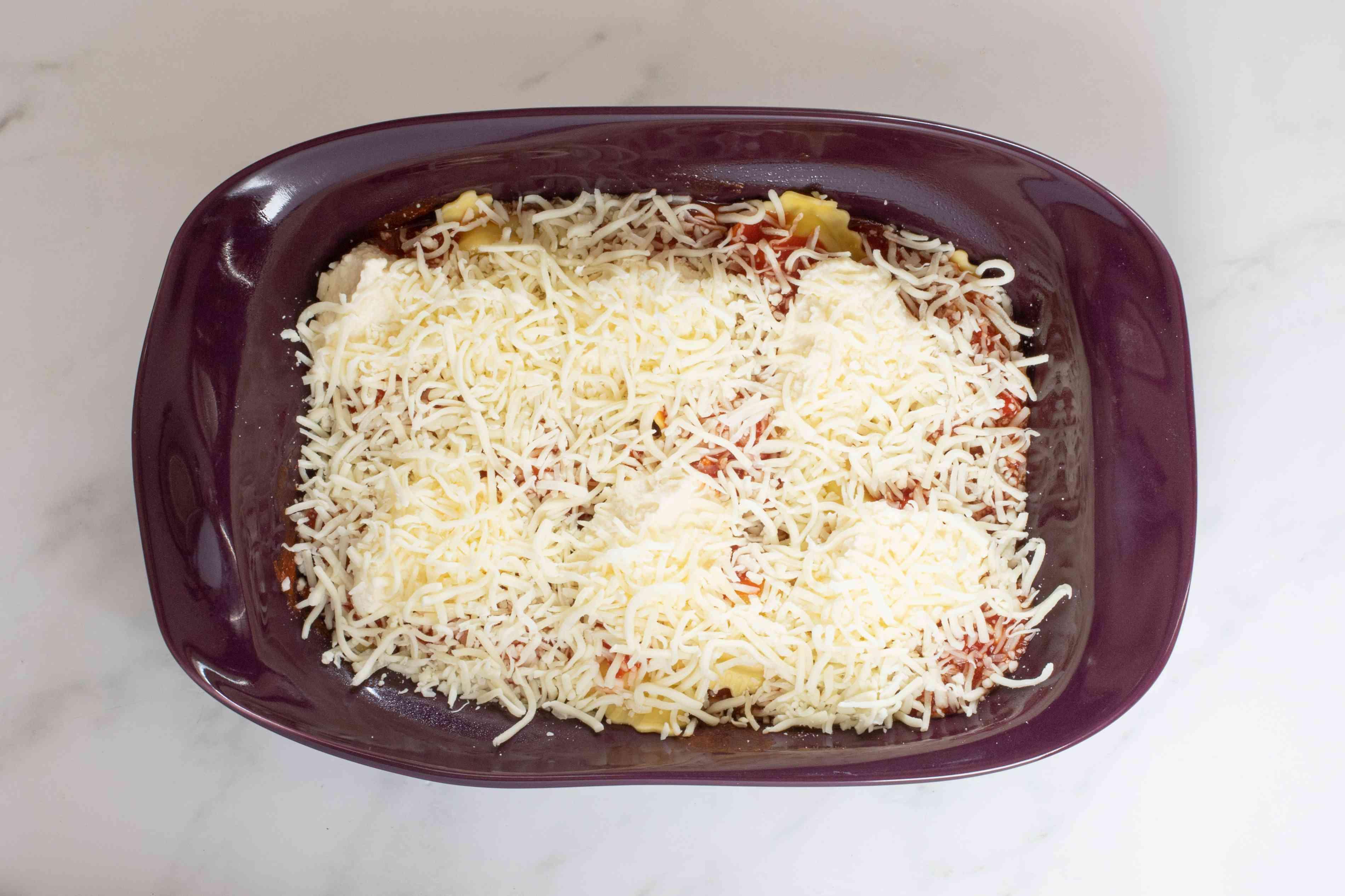 top cheese layer of ravioli casserole