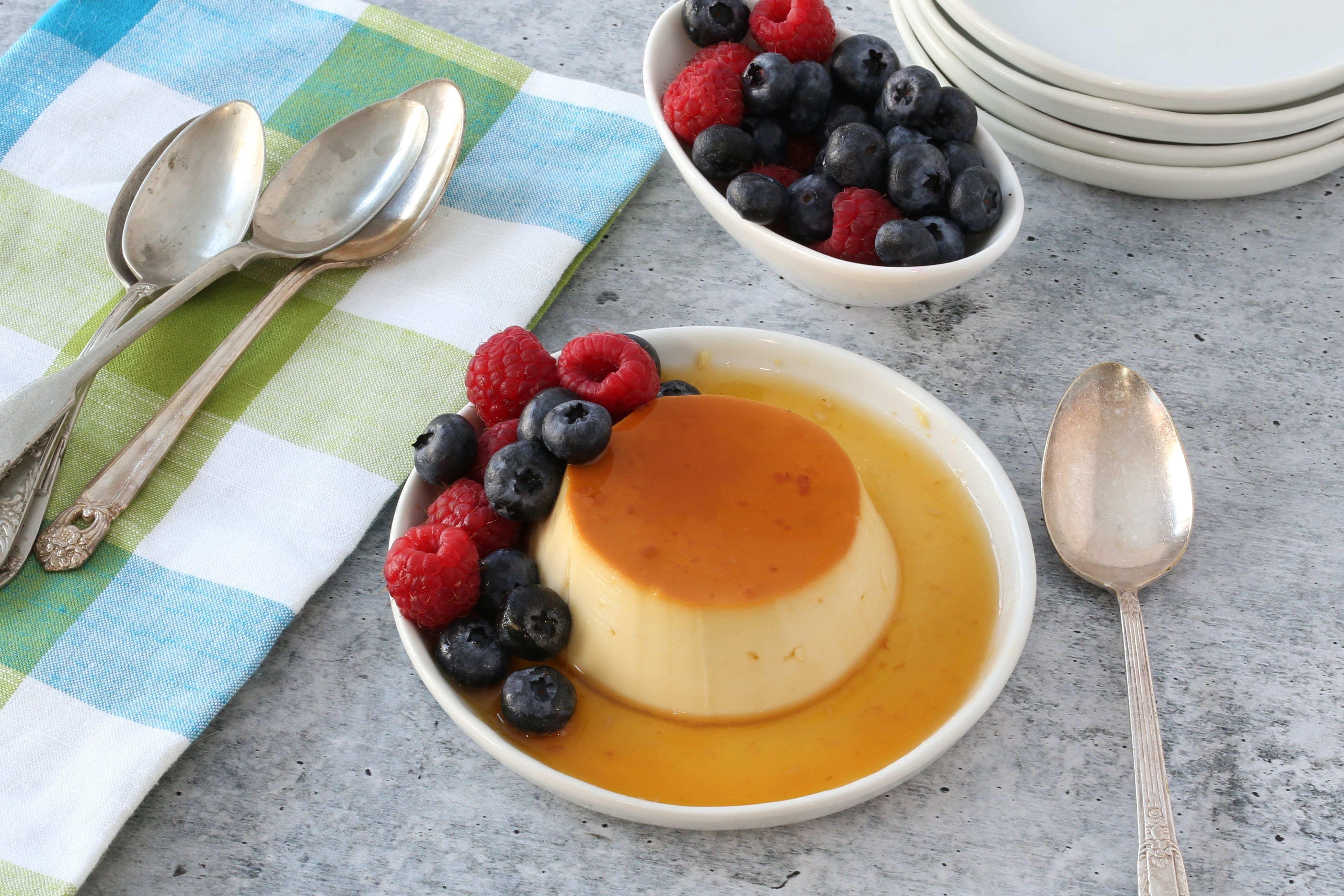 Instant Pot flan plated.