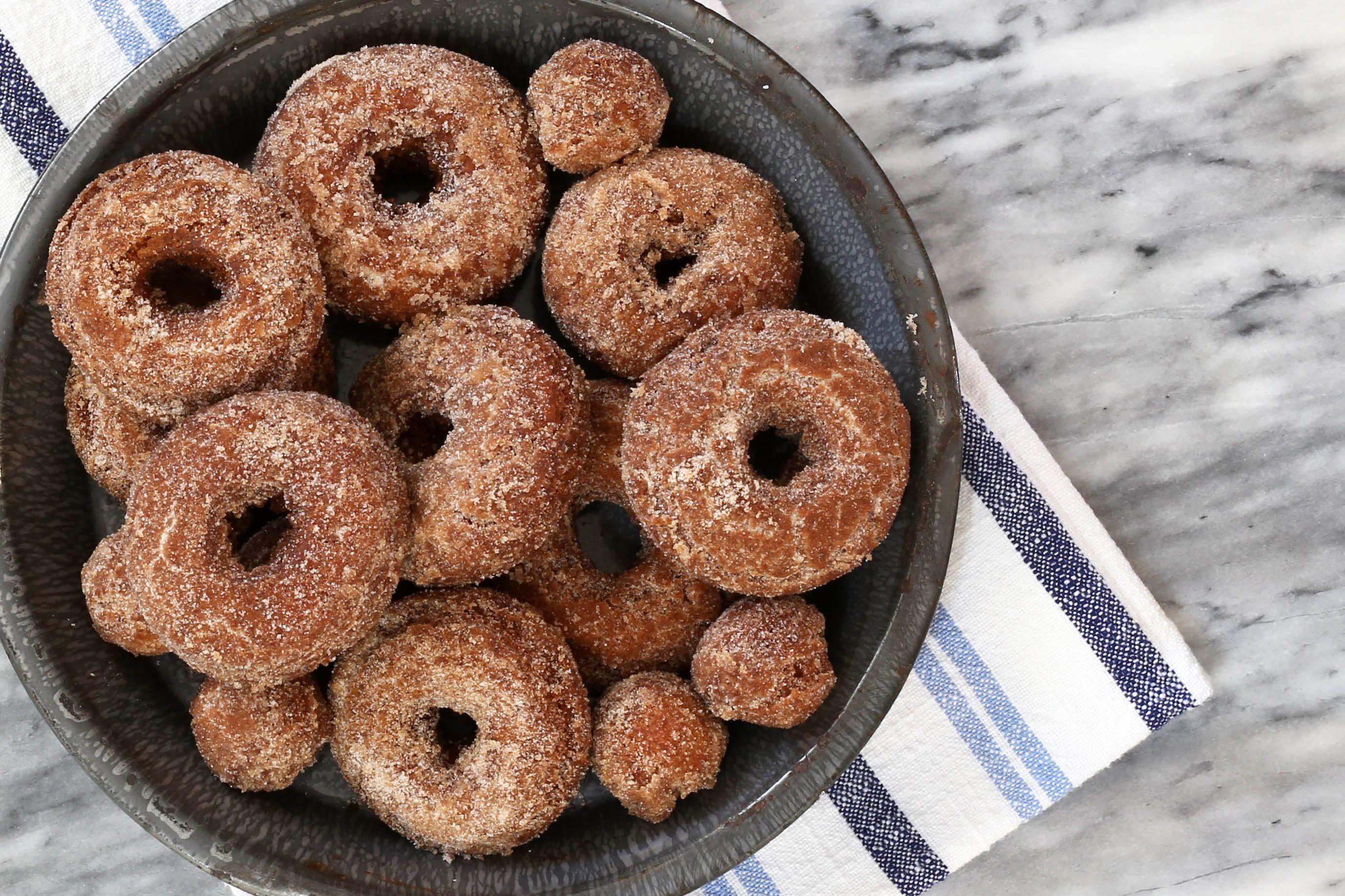apple cider doughnuts with cinnamon sugar coating