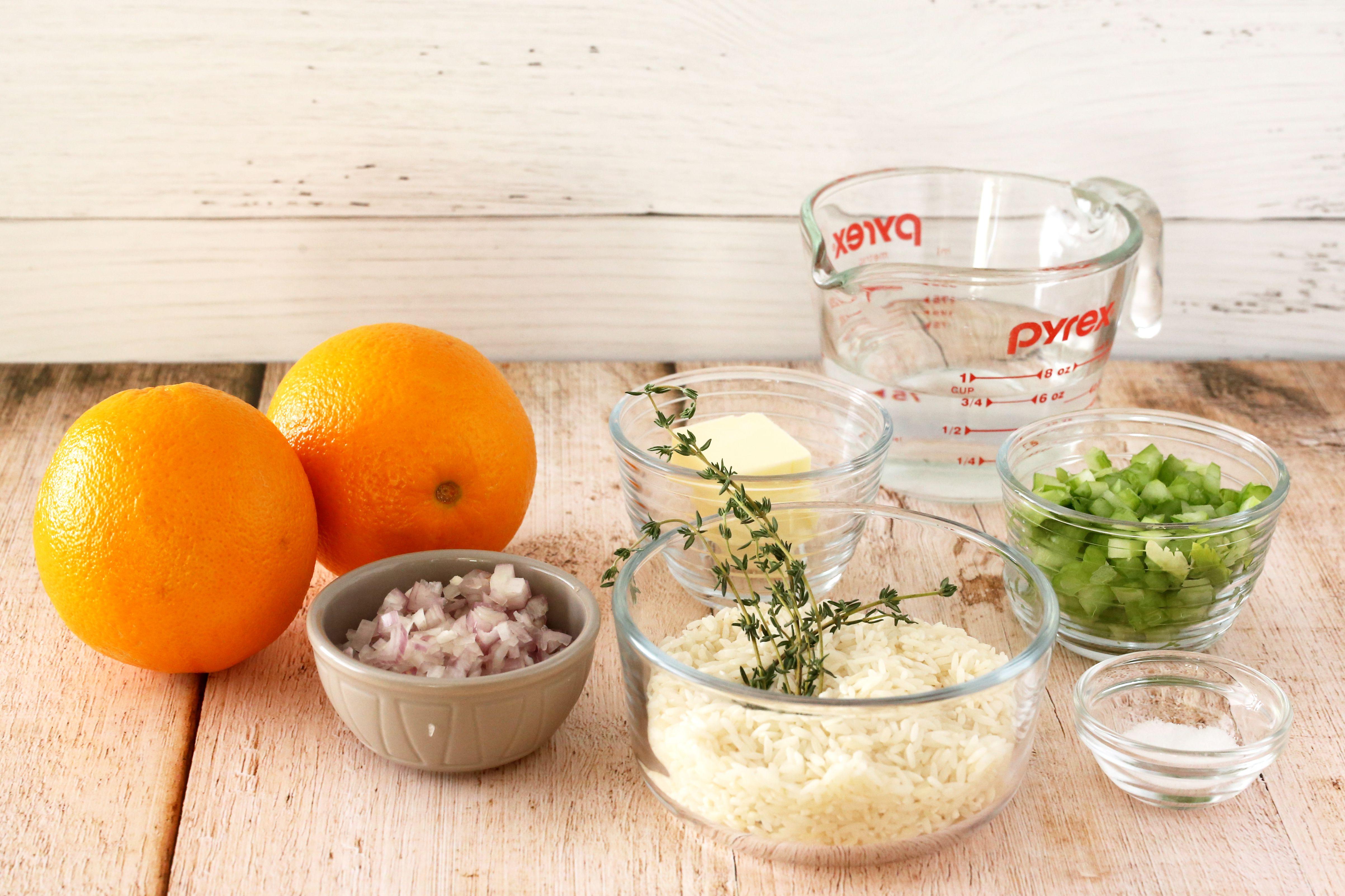 Ingredients for easy orange rice recipe