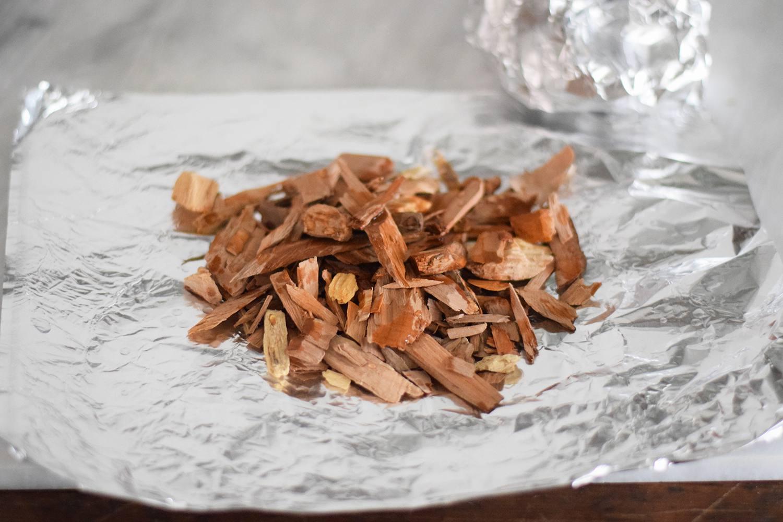 Hardwood chips on a sheet of foil