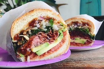 Pho Sandwich with Roast Beef, Sriracha and Hoisin