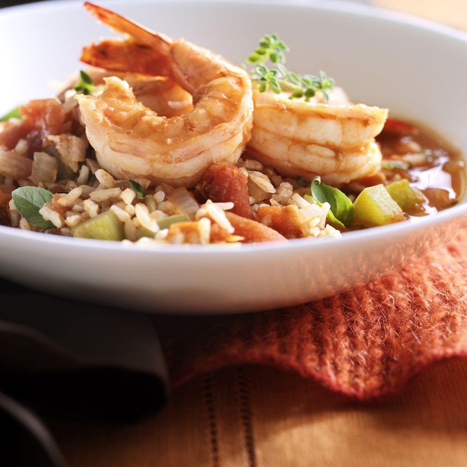 Seafood jambalaya in a bowl