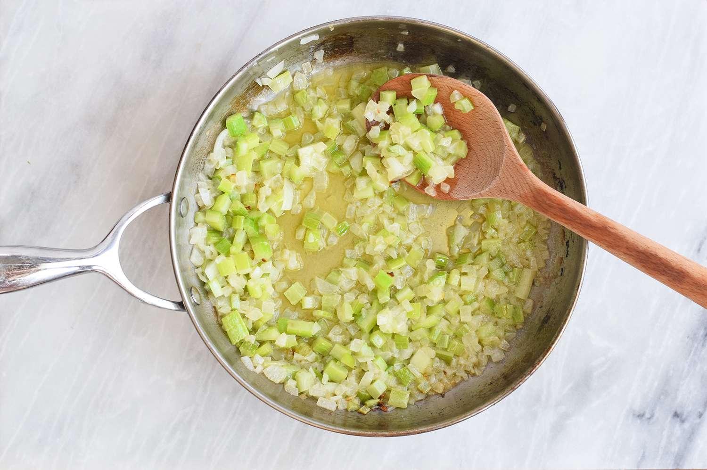 Saute vegetables for Keto Stuffing