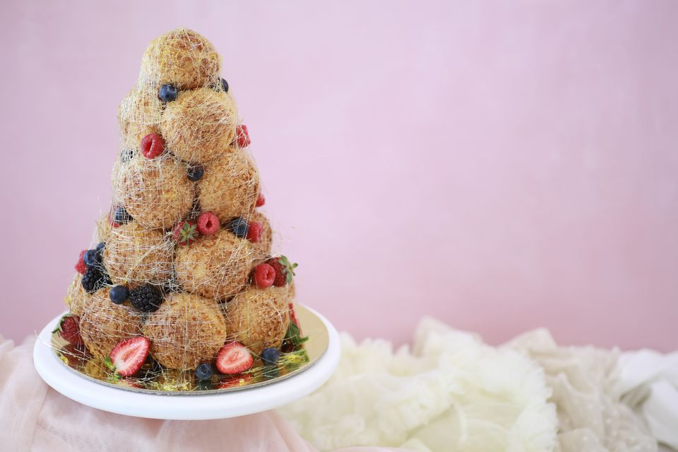 Croquembouche in the shape of a tree