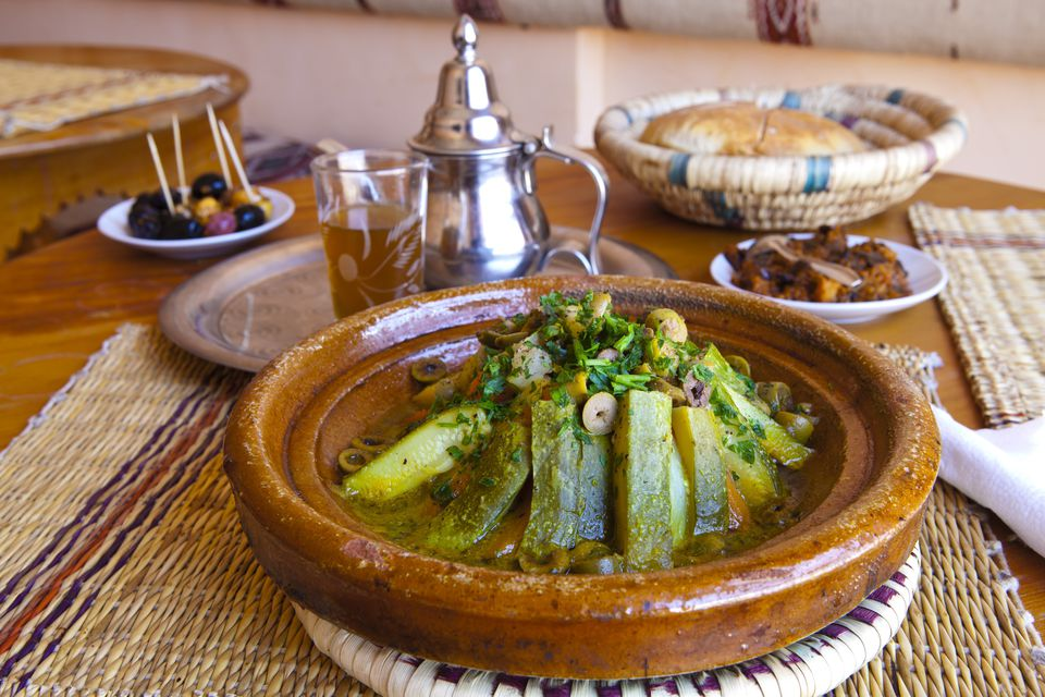 Moroccan Tagine with Zucchini on table