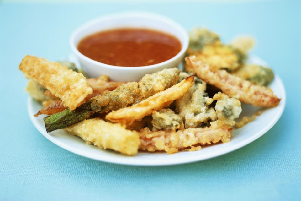 Vegetable tempura with sweet and sour dip