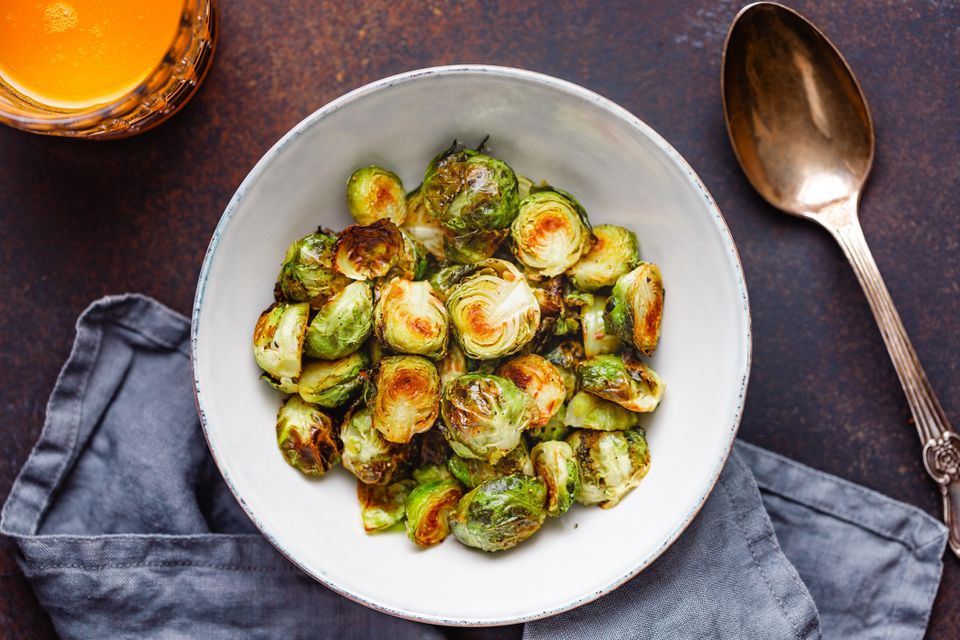 roasted brussels sprouts in bowl