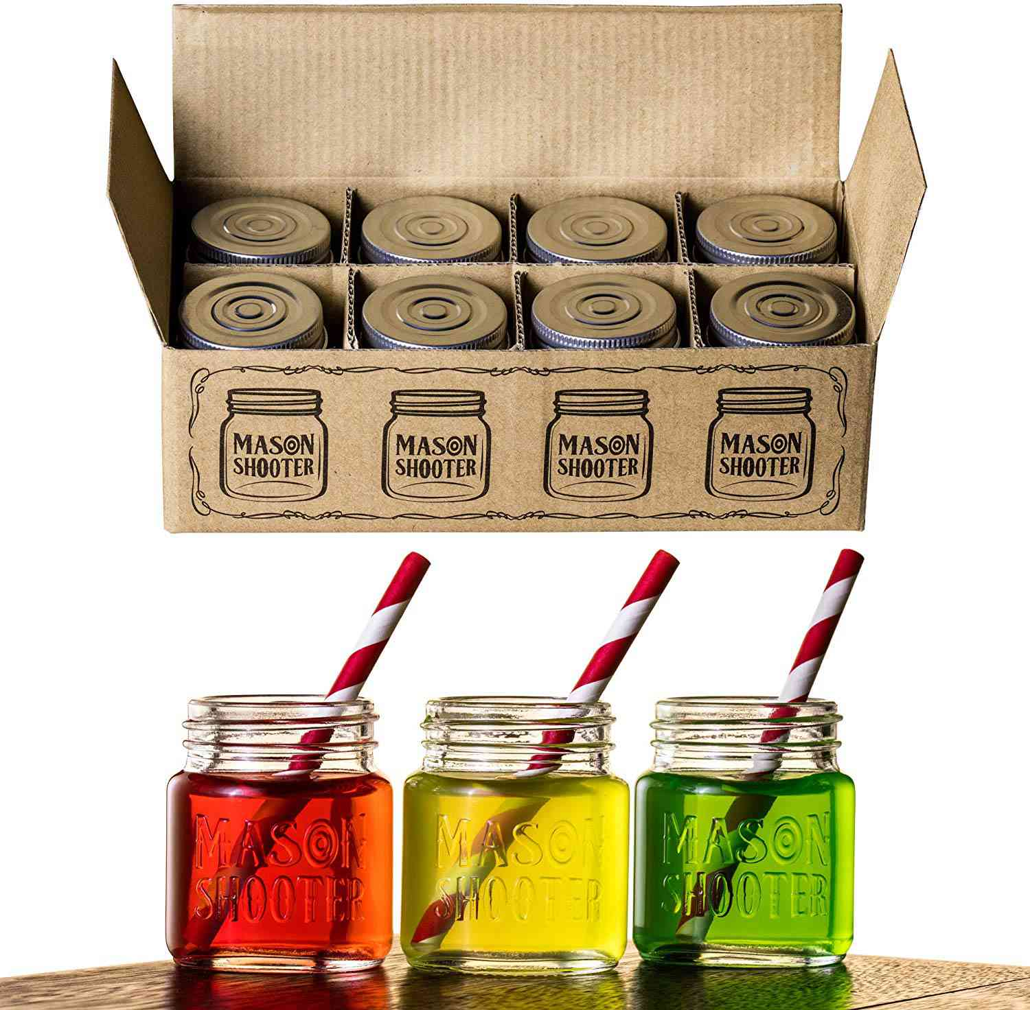 Hayley Cherie Mason Jar Shot Glasses with Lids