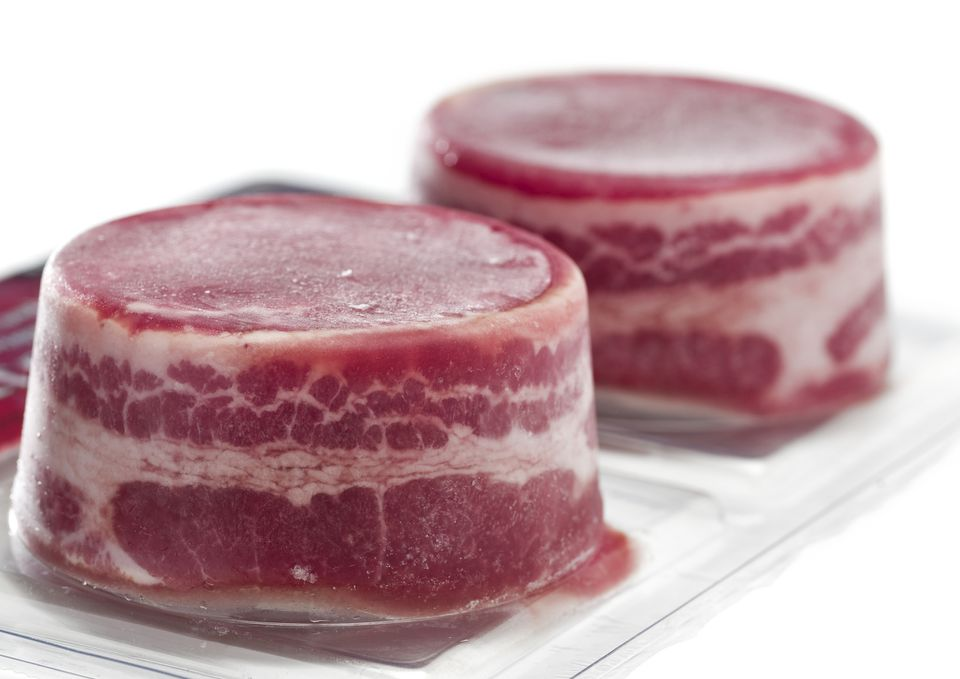 Vacuum packed frozen beef fillets