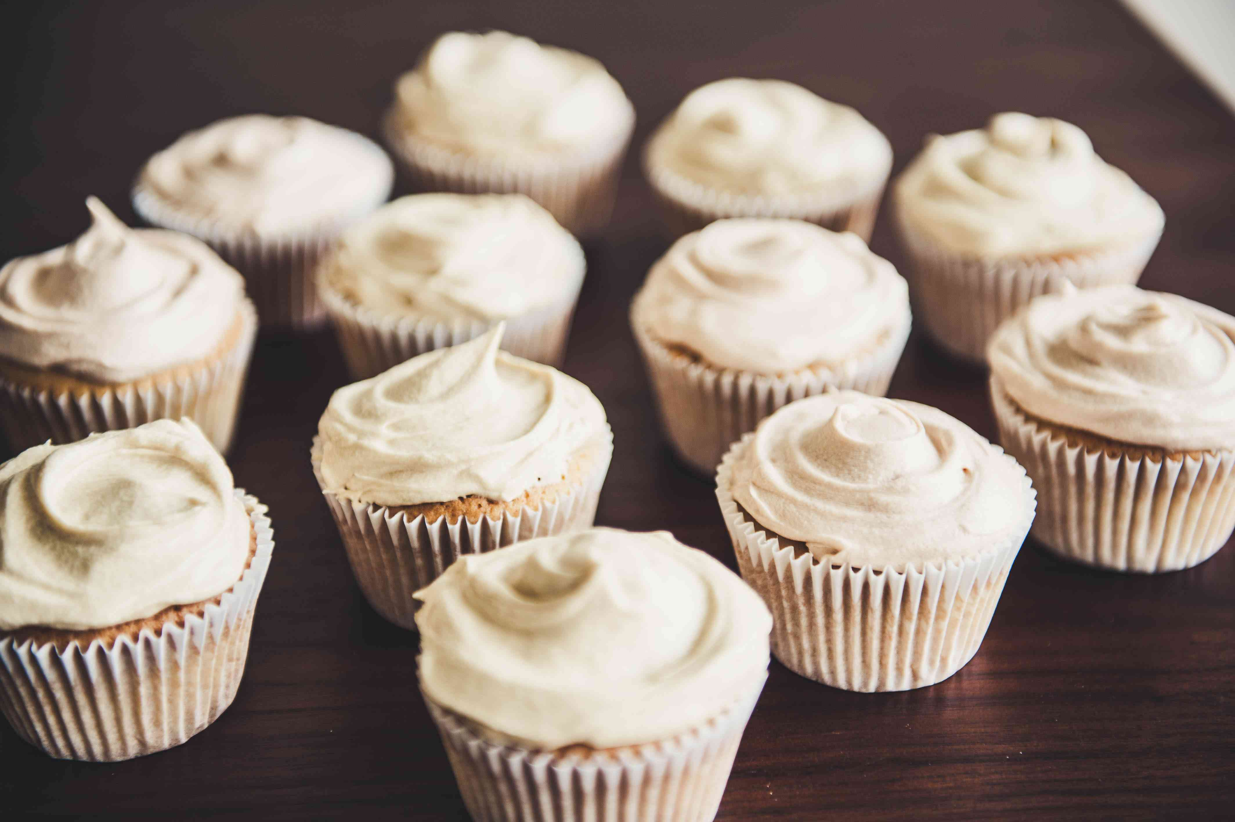 Homemade white frosted vanilla cupcakes