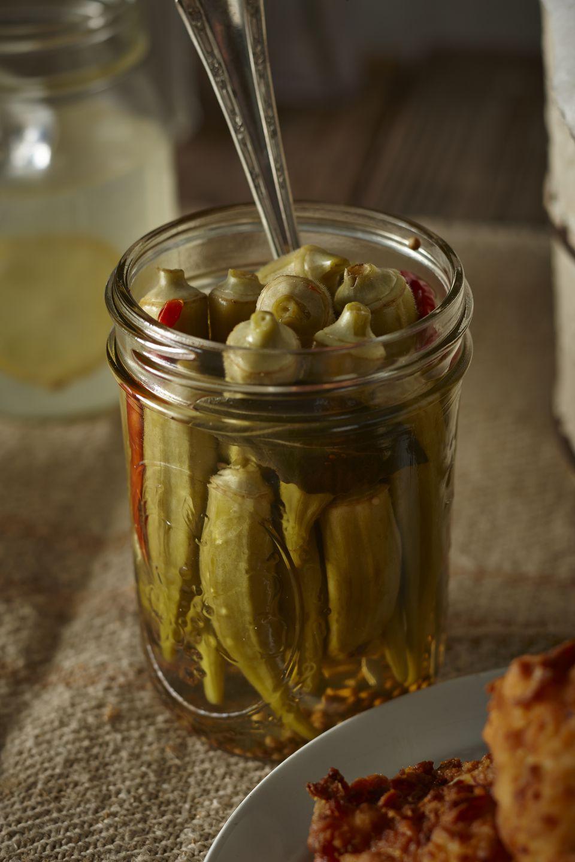 Homemade pickled okra