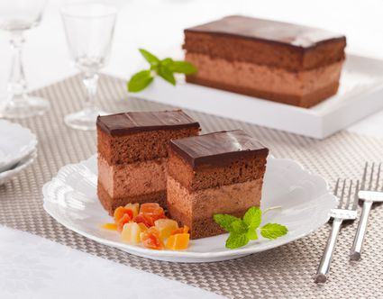 Hungarian chocolate mousse cake on a plate.