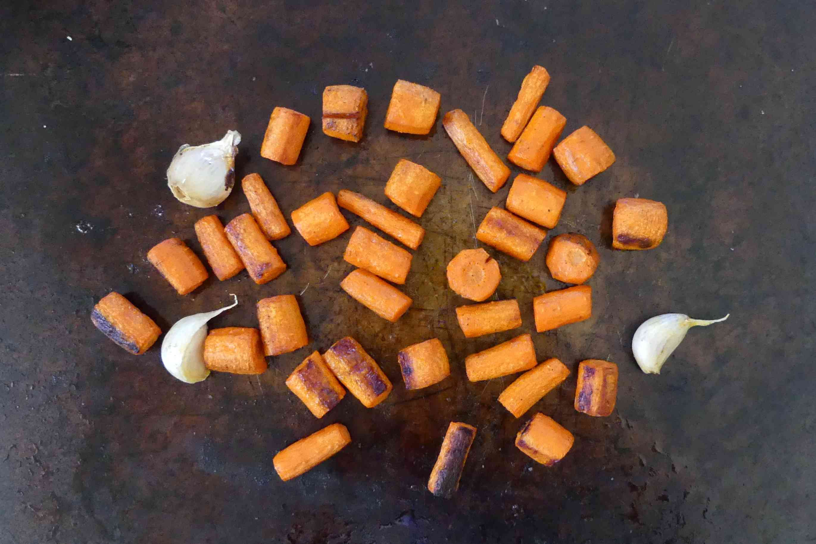 Roast carrots and garlic