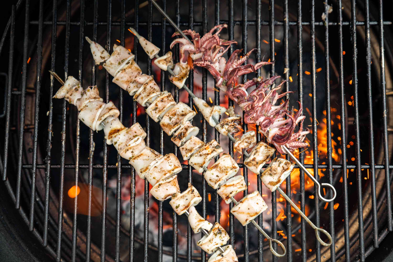 Grill the calamari over high heat