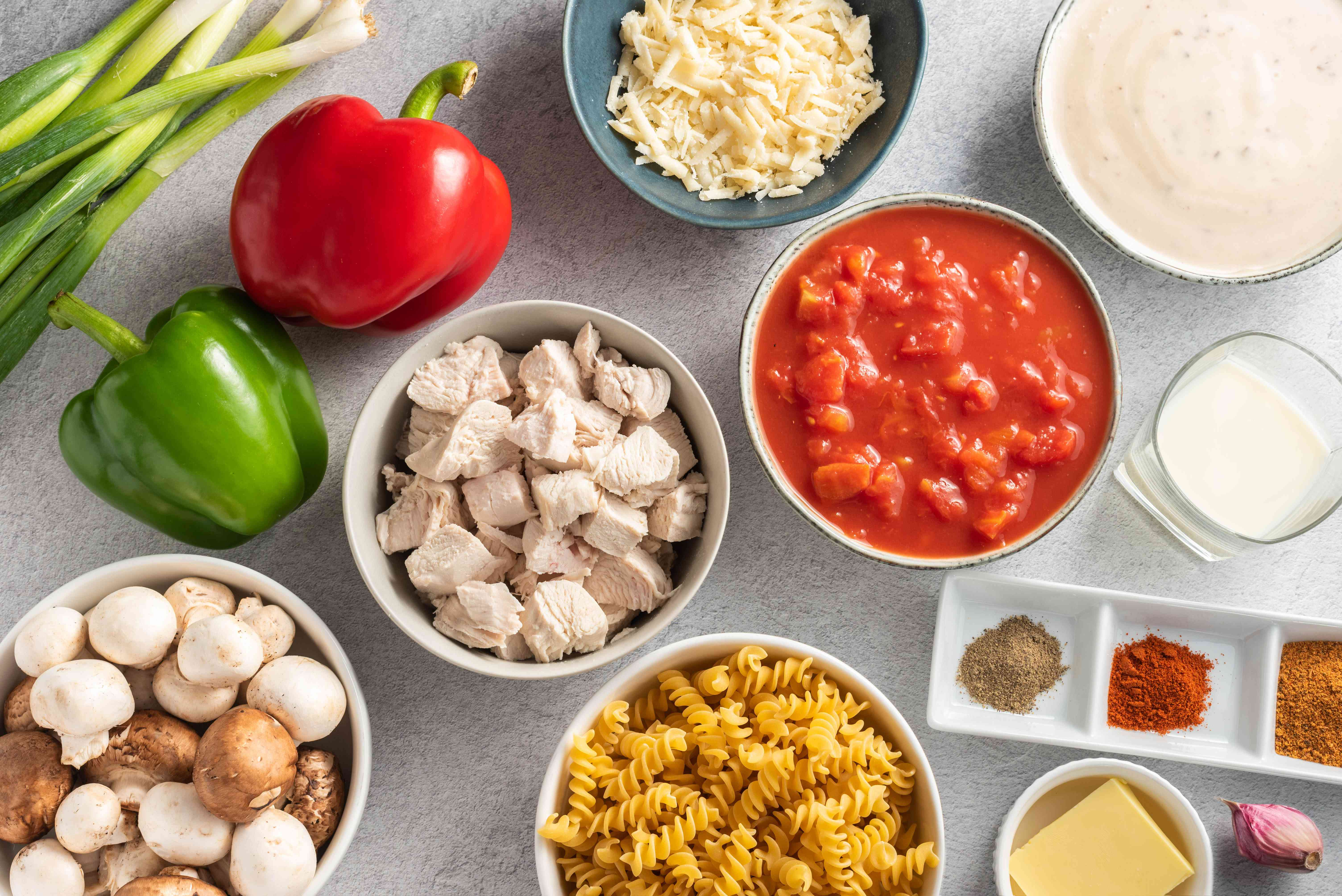 Ingredients for spicy Cajun chicken and pasta
